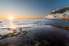 Ansicht von Rosh Hanikra von Achziv-Strand Stockbild