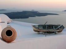 Ansicht von Santorini-Kessel von Imerovigli, Nea Kameni Stockfotos