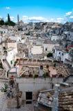 Ansicht von Sassi di Matera vom Marktplatz Vittorio Veneto Lizenzfreies Stockfoto