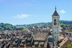 Ansicht von Schaffhausen von Munot-Festung Stockfotografie