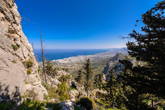 Ansicht von Schloss St. Hilarion nahe Kyrenia Stockbild