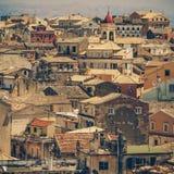 Ansicht von Schloss zu Korfu-Stadt Stockfotos