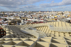 Ansicht von Sevilla von Metropol Sonnenschirm Stockbilder