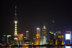 Ansicht von Shanghai Pudong-Skylinen nachts Lizenzfreies Stockbild