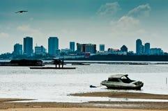Ansicht von Singapur von Johor Lizenzfreie Stockfotos
