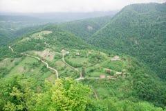 Ansicht von Spitze zu Felder und Dörfer stockbild