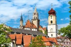 Ansicht von St. Johann Church und das Schloss in Sigmaringen - Baden-Wurttemberg, Deutschland Stockbilder