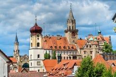 Ansicht von St. Johann Church und das Schloss in Sigmaringen - Baden-Wurttemberg, Deutschland Stockbild