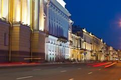Ansicht von St Petersburg in der Nacht Stockbild