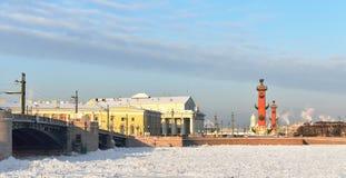 Ansicht von St Petersburg. Spucken von Vasilievsky-Insel im Winter Lizenzfreie Stockbilder