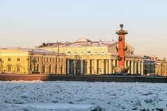 Ansicht von St Petersburg Spucken von Vasilievsky-Insel im Winter Stockfotos