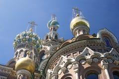 Ansicht von St- Petersburgstadt, Russland Kirche des Retters auf verschüttetem Blut Stockbild