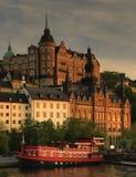 Ansicht von Stockholm in der Sonnenuntergangleuchte Lizenzfreie Stockbilder