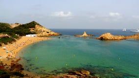 Ansicht von Strand Calas Pregoorcanda in Balearic Island. lizenzfreies stockbild