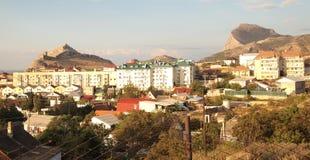 Ansicht von Sudak, Krim, Ukraine Stockfotografie