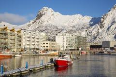 Ansicht von Svolvaer-Hafen Stockfotografie