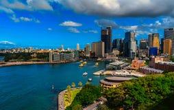 Ansicht von Sydney, von Felsen-Bezirk und von Rundschreiben Quay lizenzfreies stockfoto