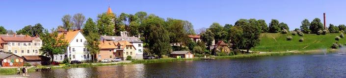 Ansicht von Talsi, Lettland im Frühjahr Stockbilder