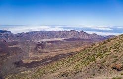 Ansicht von Teleferico des Bergs Teide, GarcÃa-` s Felsen, Nationalpark Teide, Teneriffa, Kanarische Inseln, Spanien stockfotos