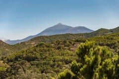 Ansicht von Teno-Alt zu schöner Stadt Buena Vista zwischen der Küste und den hohen Berghängen des Gebirgsmassivs bedeckt mit Dick stockbild