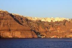 Ansicht von Thira bei Sonnenuntergang lizenzfreies stockbild