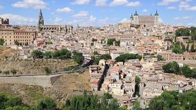 Ansicht von Toledo With Alcazar On Top, mittelalterliche Stadt, S stock footage