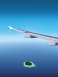 Ansicht von Trauminsel vom Flugzeugfenster Vektor Abbildung