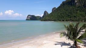 Ansicht von tropischen Strand- und Kokosnussbäumen Lizenzfreie Stockfotos