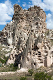 Ansicht von Uchisar-Schloss in Cappadocia Stockfotografie