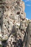 Ansicht von Uchisar-Schloss in Cappadocia Stockfotos