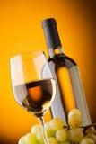 Ansicht von unten eines Glases der Flasche des weißen Weins Stockbild