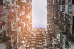 Ansicht- von untenwohnungswohnsitzbereich Hong Kong im Stadtzentrum gelegen Stockfotos