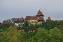 Ansicht von Viscri-Wehrkirche (Schloss), Siebenbürgen, Rumänien, lizenzfreie stockfotos