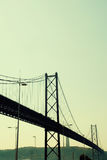 Ansicht von 25. von April Bridge in Lissabon, Portugal Lizenzfreies Stockbild