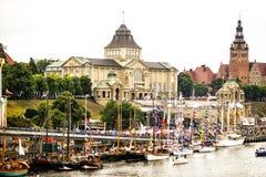 Ansicht von Waly Chrobrego in Szczecin während Großsegler-Rennen 2015 polen Lizenzfreie Stockfotografie