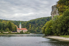 Ansicht von Weltenburg-Abtei, Deutschland Stockbild