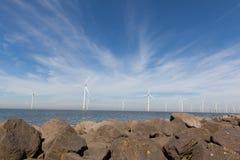 Ansicht von Windpark im niederländischen Noordoostpolder stockfoto