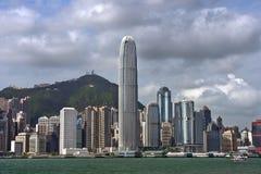 Ansicht von Wolkenkratzern von Victoria Harbor, Hong Kong Lizenzfreies Stockfoto