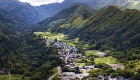Ansicht von Yamadera-Tal, Miyagi, Japan Lizenzfreies Stockfoto