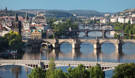 Ansicht von zentralen Brücken von Prag Lizenzfreie Stockfotografie