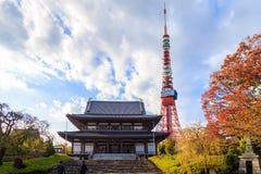 Ansicht von Zojo-jitempel und Tokyo ragen, Tokyo hoch Lizenzfreie Stockfotos