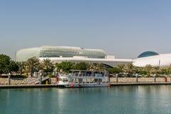 Ansicht an Yas-Jachthafen in Abu Dhabi vom Meer Lizenzfreie Stockfotografie