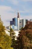 Ansicht zu den Skylinen von Frankfurt Stockfoto
