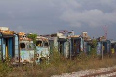 Ansicht zu den verlassenen Zügen Stockfotos