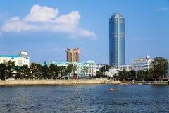 Ansicht zu den Wolkenkratzern von Ekaterinburg, Russland Lizenzfreies Stockbild