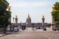 Ansicht zu Les Invalides in Paris, Frankreich Stockbilder