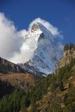 Ansicht zu Matterhorn von Zermatt, die Schweiz Stockbild
