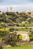 Ansicht zu Mtarfa von Mdina, Malta lizenzfreie stockfotografie