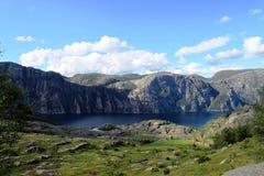 Ansicht zu Preikestolen Norwegen Stockfotos