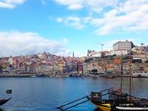 Ansicht zu Ribeira-Bezirk über Duero-Fluss Porto, Portugal lizenzfreies stockbild
